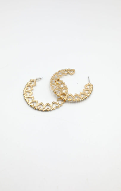 Gold Heart Hoop Earrings - Victoria