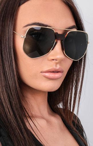 Gold Large Aviator Gold Frame Sunglasses - Leia