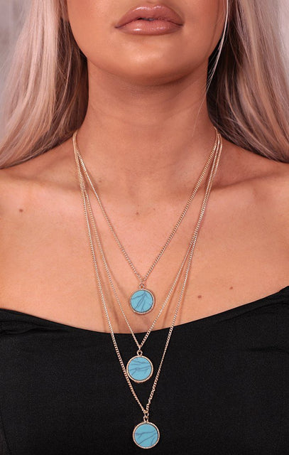 Gold Layered Stone Necklace - Kristie