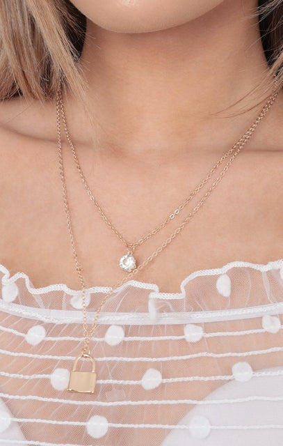 Gold Lock & Diamond Layered Necklace - Maia