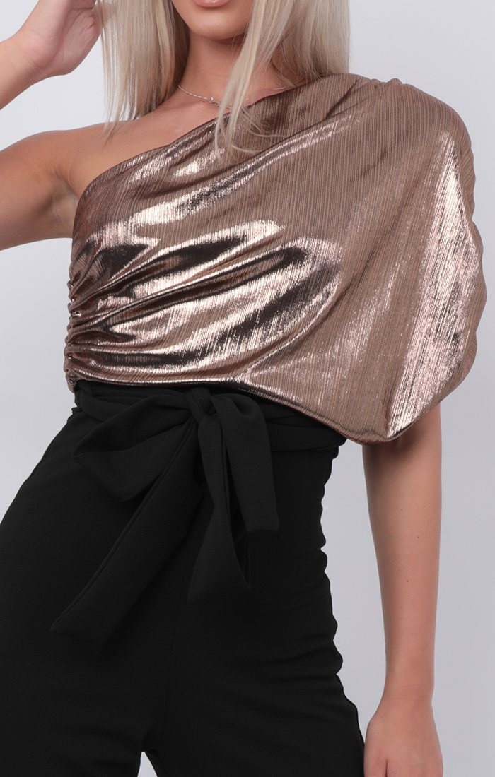 Gold Metallic One Shoulder Jumpsuit - Cassidy