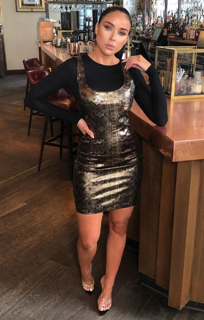 Gold Metallic Snake Print Denim Dress - Kailey