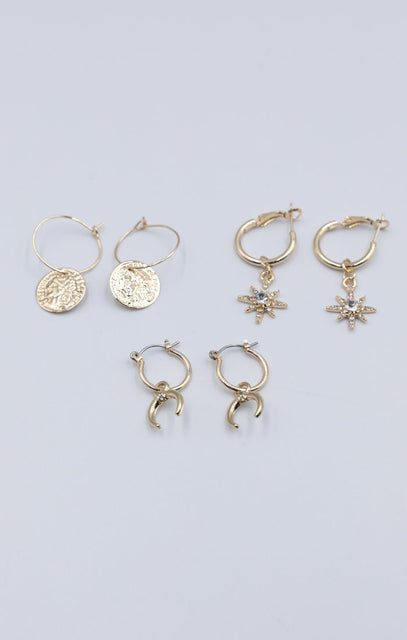 Gold Multipack Hoop Earrings - Luna