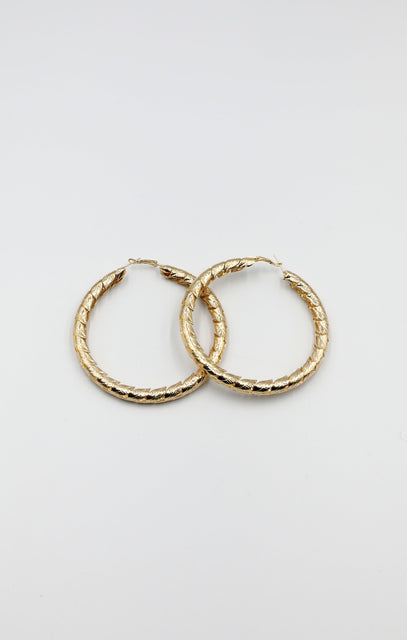 Gold Oversized Leaf Pattern Hoop Earrings - Kerry