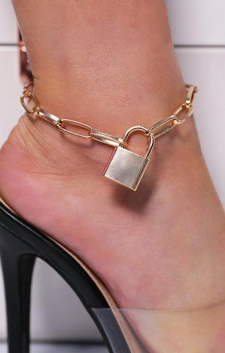 Gold Padlock Chain Anklet - Penny