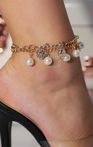 Gold Pearl Chain Drop Anklet - Brogan