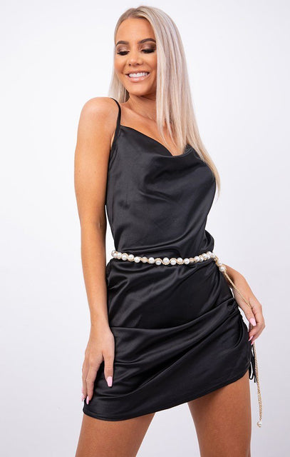 Gold Pearl Detail Chain Belt - Vick