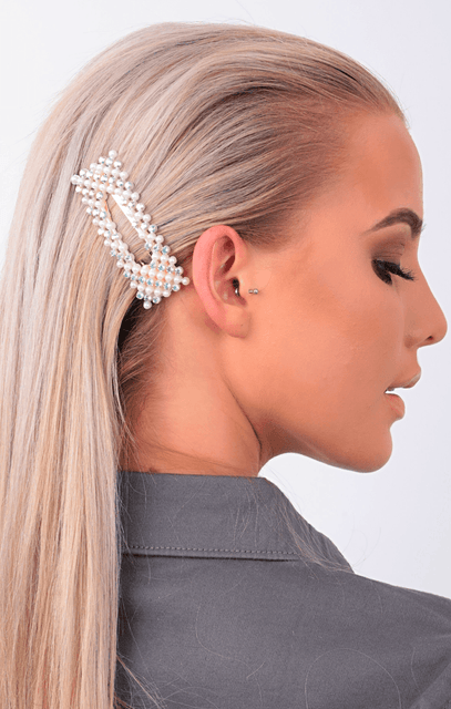 Gold, Pearl & Diamante Sparkly Rectangle Hair Clip - Tiana