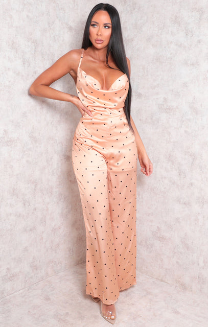 Gold Polka Dot Wide Leg Cross Back Wrap Jumpsuit - Kimberly