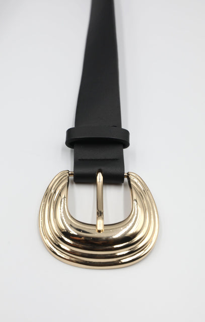 Gold Ripple Metal Buckle Thick Black Belt - Kalina