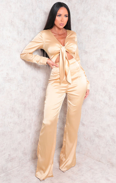 Gold Satin Long Sleeve Wide Leg Tie Front Jumpsuit - Regina