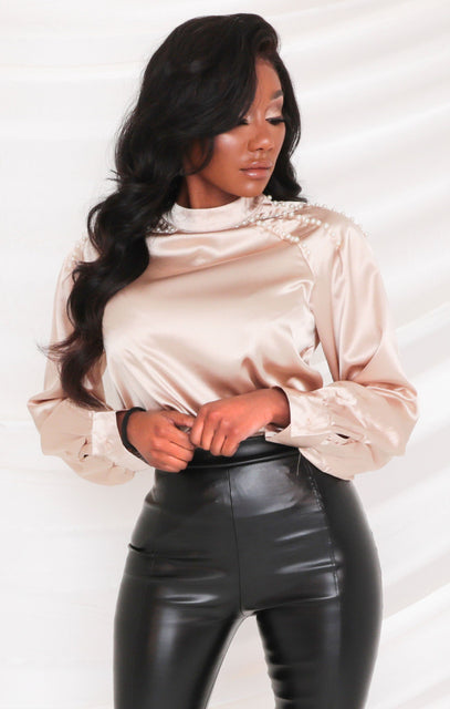 Gold Satin Pearl Detail Balloon Sleeve Top - Jamie