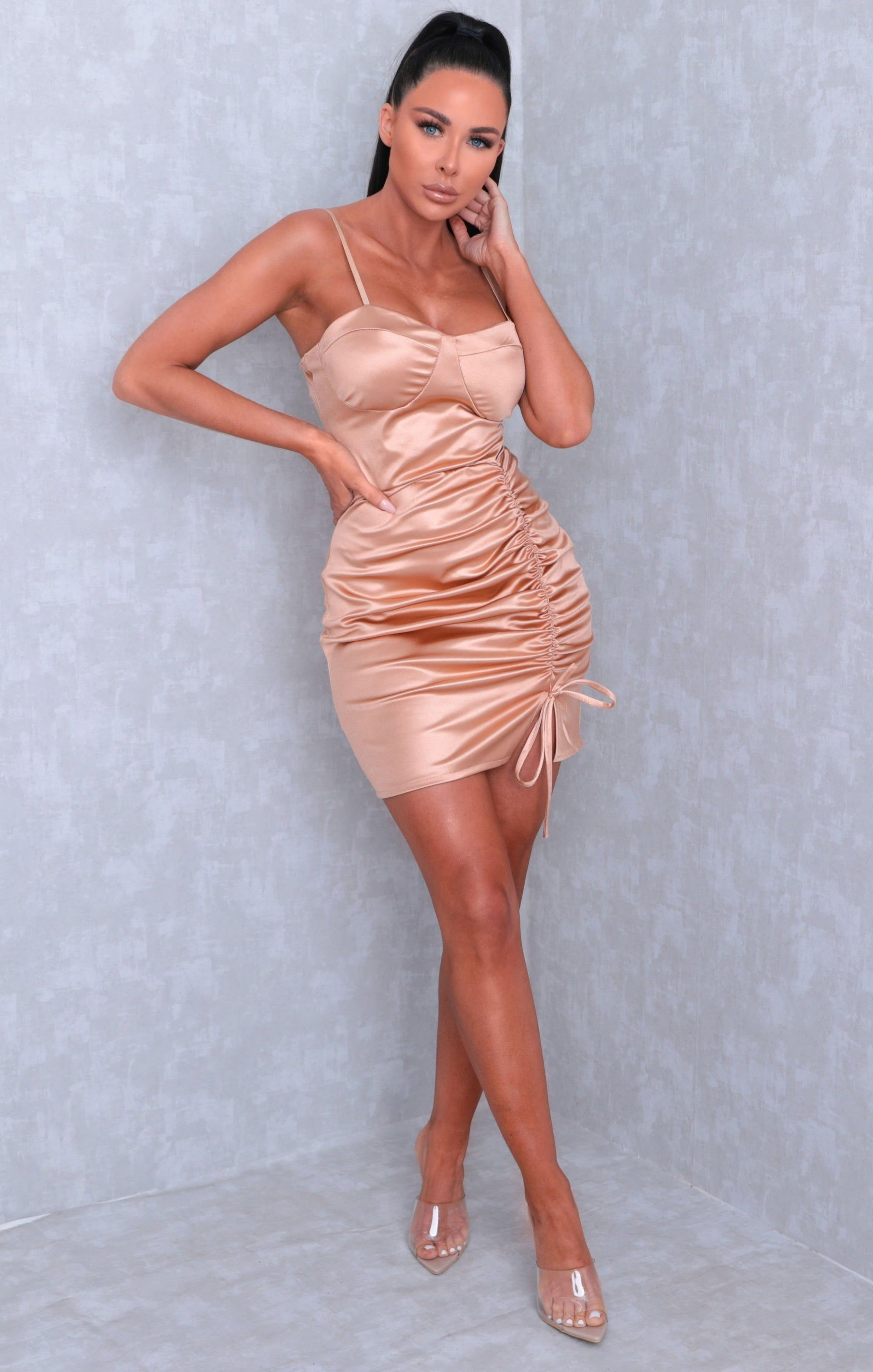 Gold Satin Ruched Side Bodycon Mini Dress - Emilia