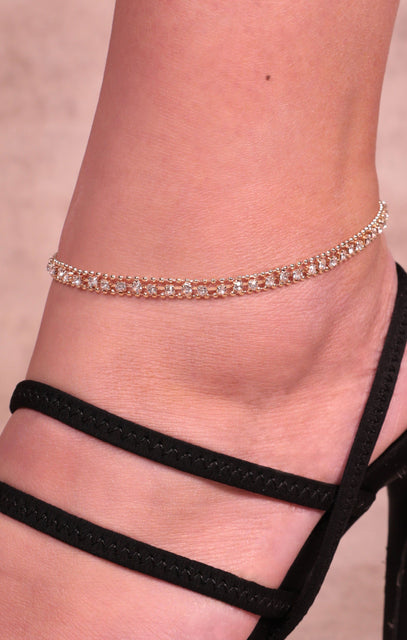 Gold & Silver Diamante Bead Anklet - Travis