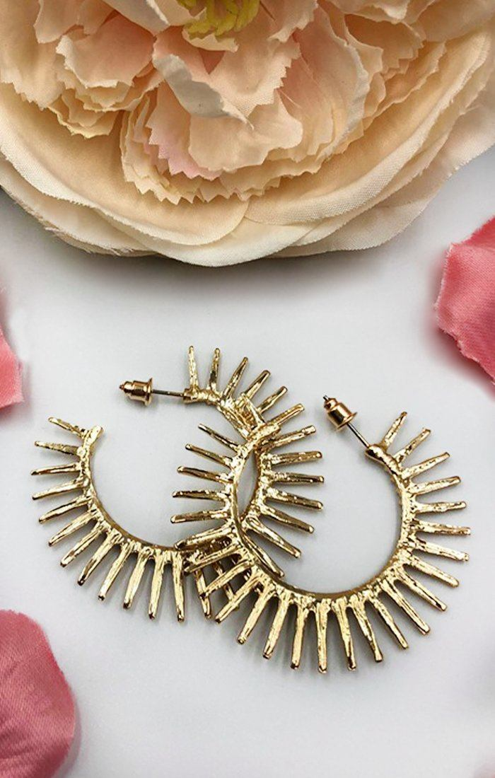 Gold Spike Hoop Earrings - Margot