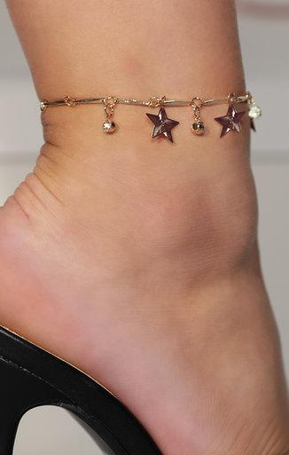 Gold Star Diamante Drop Anklet - Ruby