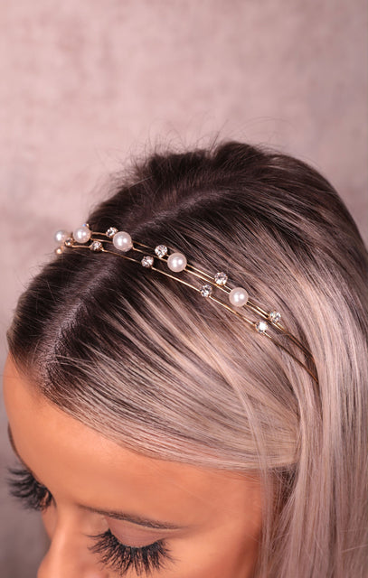 Gold Triple Thin Band Pearl & Diamante Headband - Amira