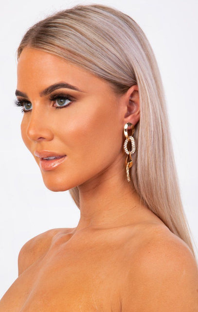 Gold Twist Chain Link Silver Diamante Drop Earrings - Farrah