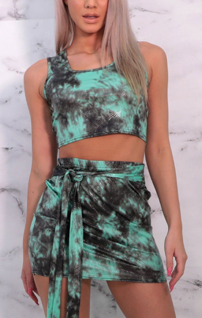 Green & Black Tie Dye Thick Strap Skirt Co-ord - Orsa