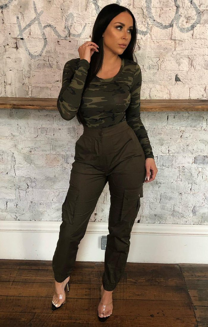 Green Camo Long Sleeve Bodysuit - Madelyn