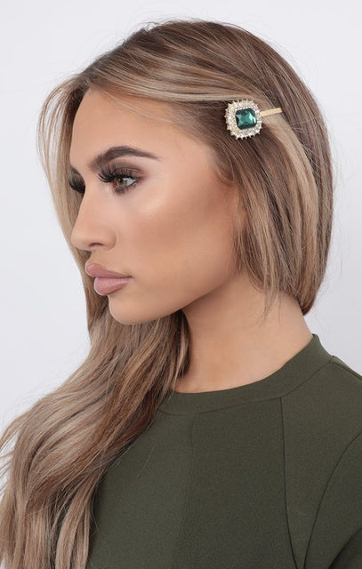 Green Large Gemstone Hair Slide - Payton