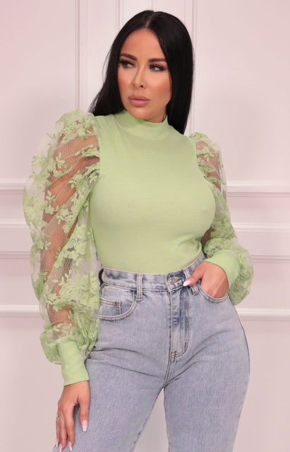 Green Mesh Floral Sleeve Ribbed Top - Matilda