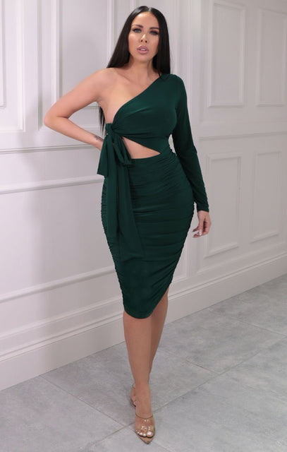 Green One Shoulder Tie Side Midi Dress - Lola