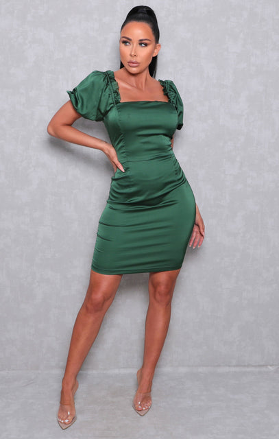 Green Satin Puff Sleeve Square Neck Mini Dress - Juliane