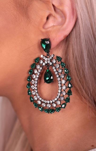 Green & Silver Diamante Gemstone Oval Drop Earrings - Idris