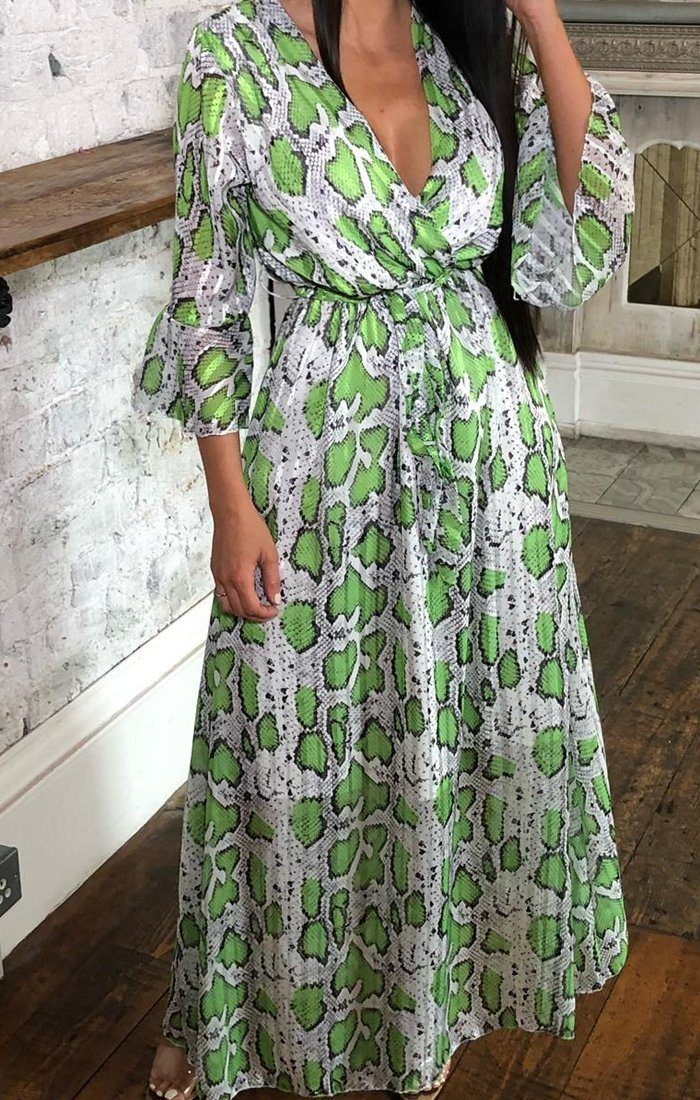 Green Snake Print Flare Sleeve Maxi Dress - Keelee