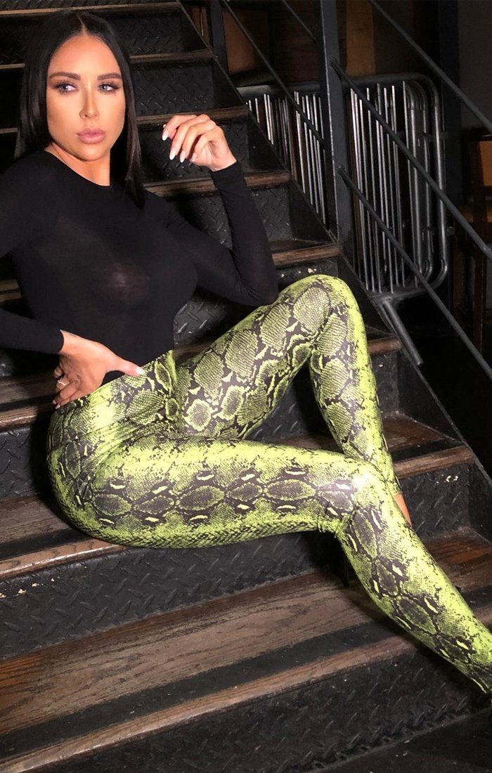 Green Snake Print PU Leggings - Pip