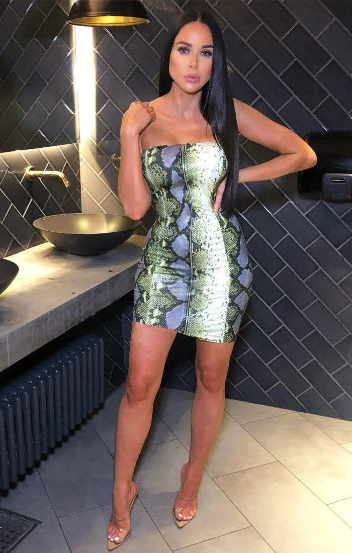 Green Snake Print PU Mini Dress - Kaylee