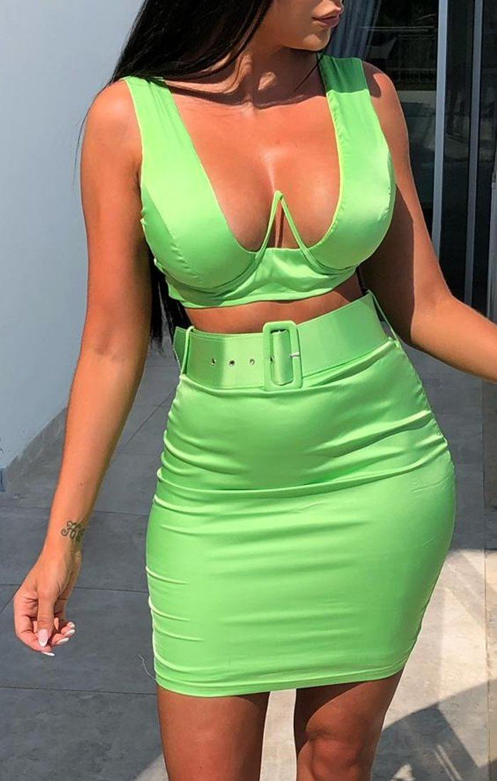 Green Thick Strap Wired Top & Belted Skirt Co-Ord - Pearl