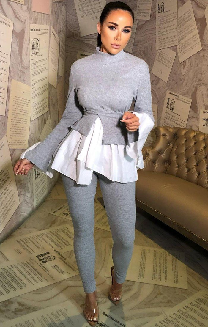 Grey Layered Look Jumper Shirt Loungewear - Jane