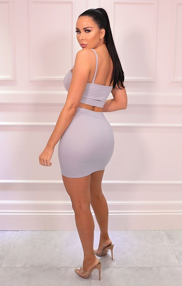 Grey Basic Crop Top & Skirt Co-ord - Julianna