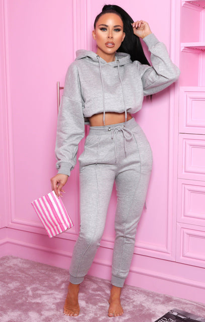 Grey Boxy Cropped Hoodie Cuffed Joggers Loungewear Set - Cailleigh