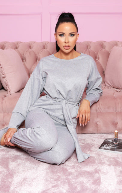 Grey Boxy Long Sleeved Tie Loungewear Set - Leah