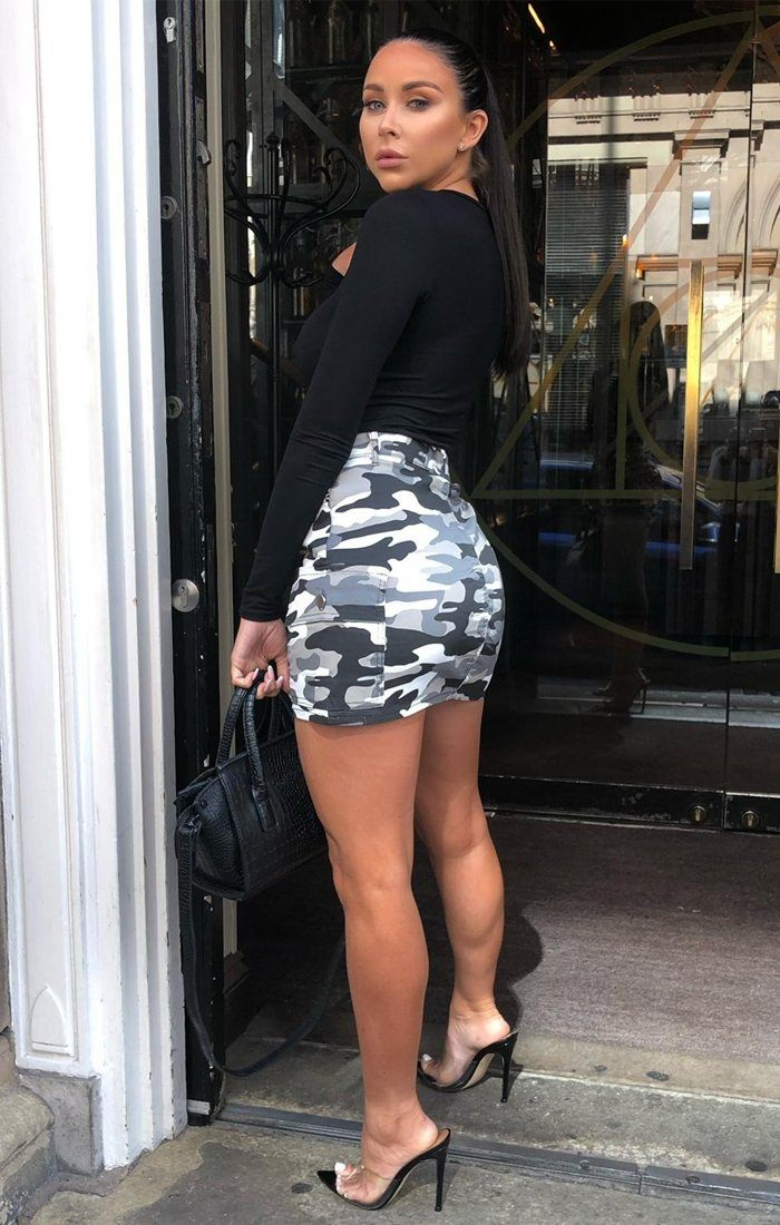 Grey Camo Cargo Pockets Skirt - Tiana