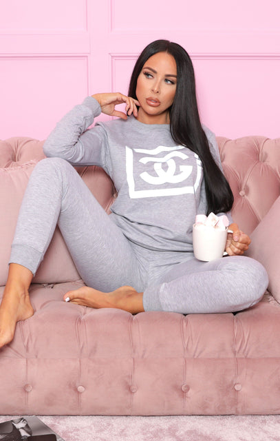 Grey CG Slogan Print Loungewear Set - Kailyn