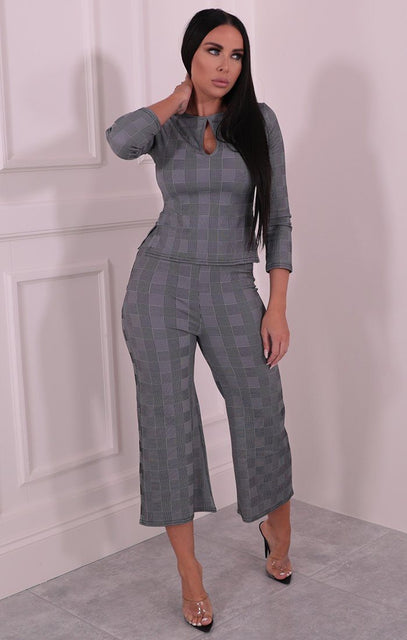 Grey Check Wide Leg Co-ord - Olly