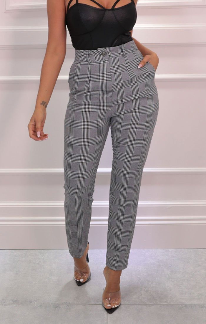 Grey Checkered High Waisted Slim Leg Trousers - Taz