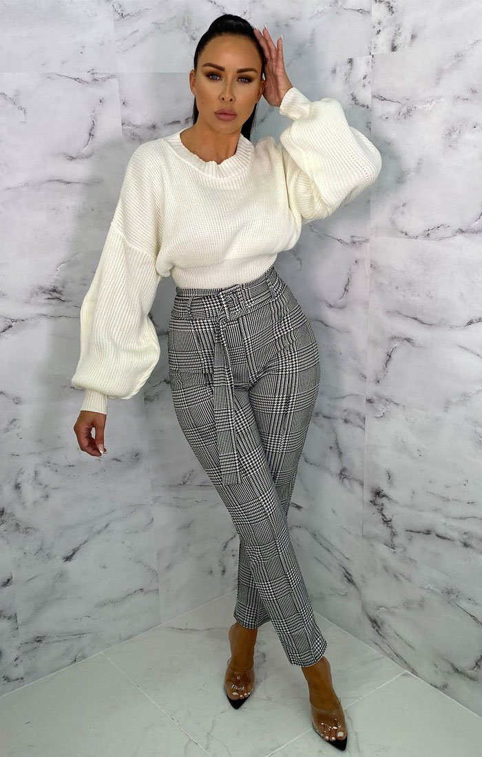 Grey Checkered Plaid Print Belted Slim Leg Trousers - Lucy