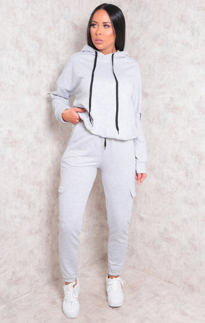 Grey Contrast String Cuffed Loungewear Set - Mercy