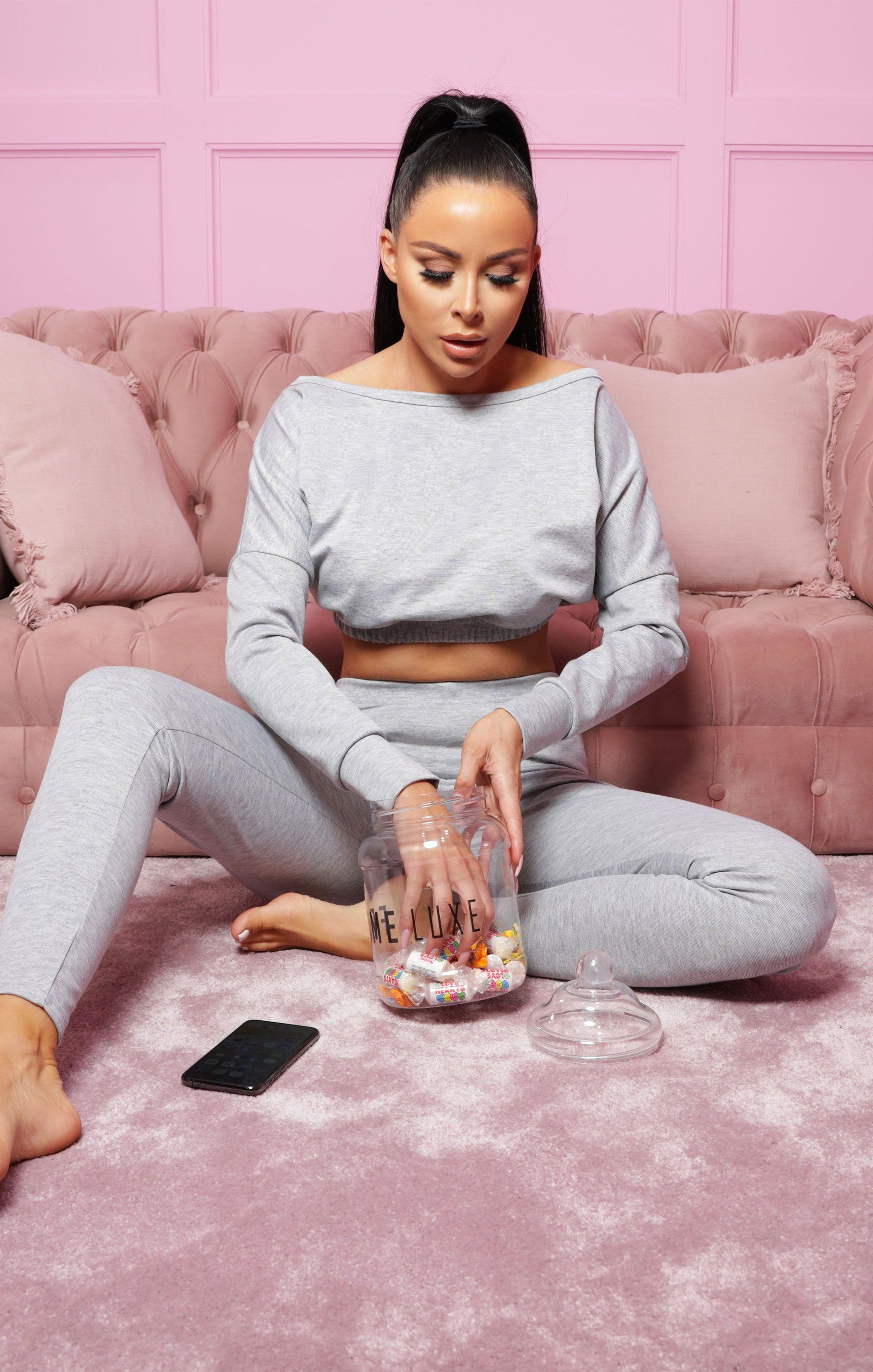 Grey Crew Neck Cropped Loungewear Set - Lola