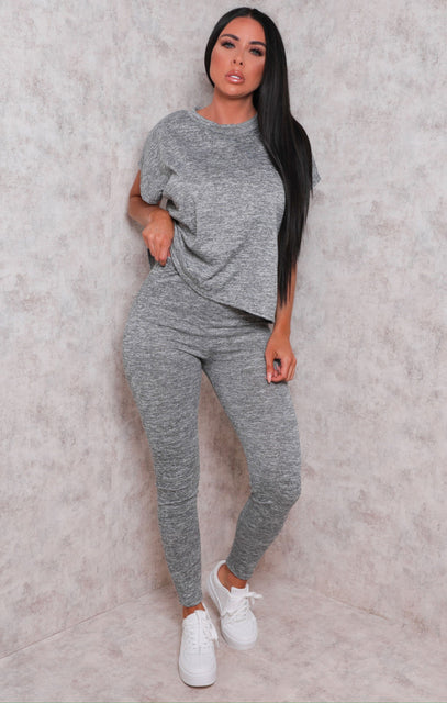 Grey Crew Neck Short Sleeve Leggings Loungewear Set - Irene