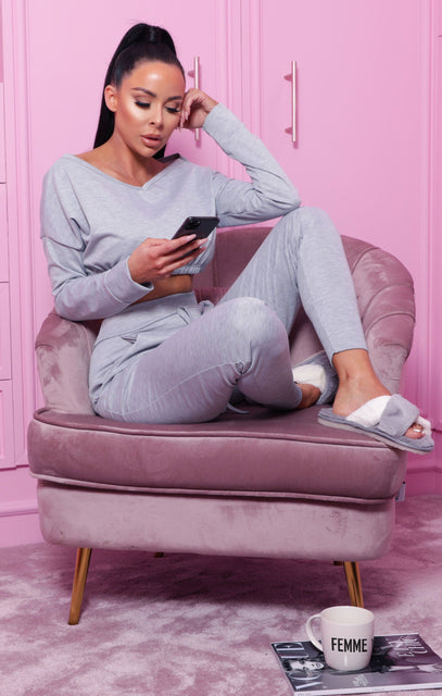 Grey Crop Loungewear Set - Deanna