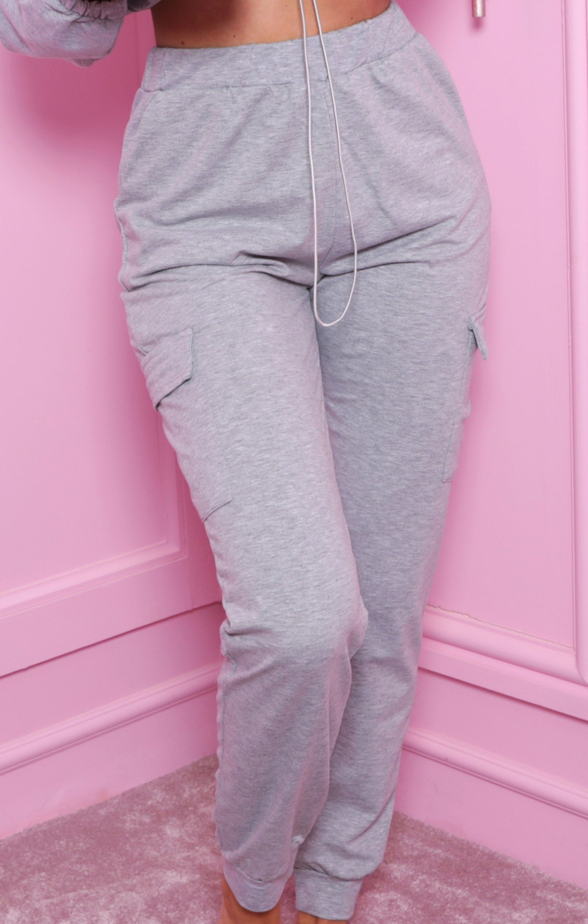 Grey Cropped Cargo Loungewear Set - Zuri