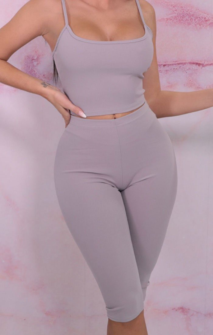 Grey Cropped Cycling Shorts Strappy Top Co-ord - Aofie