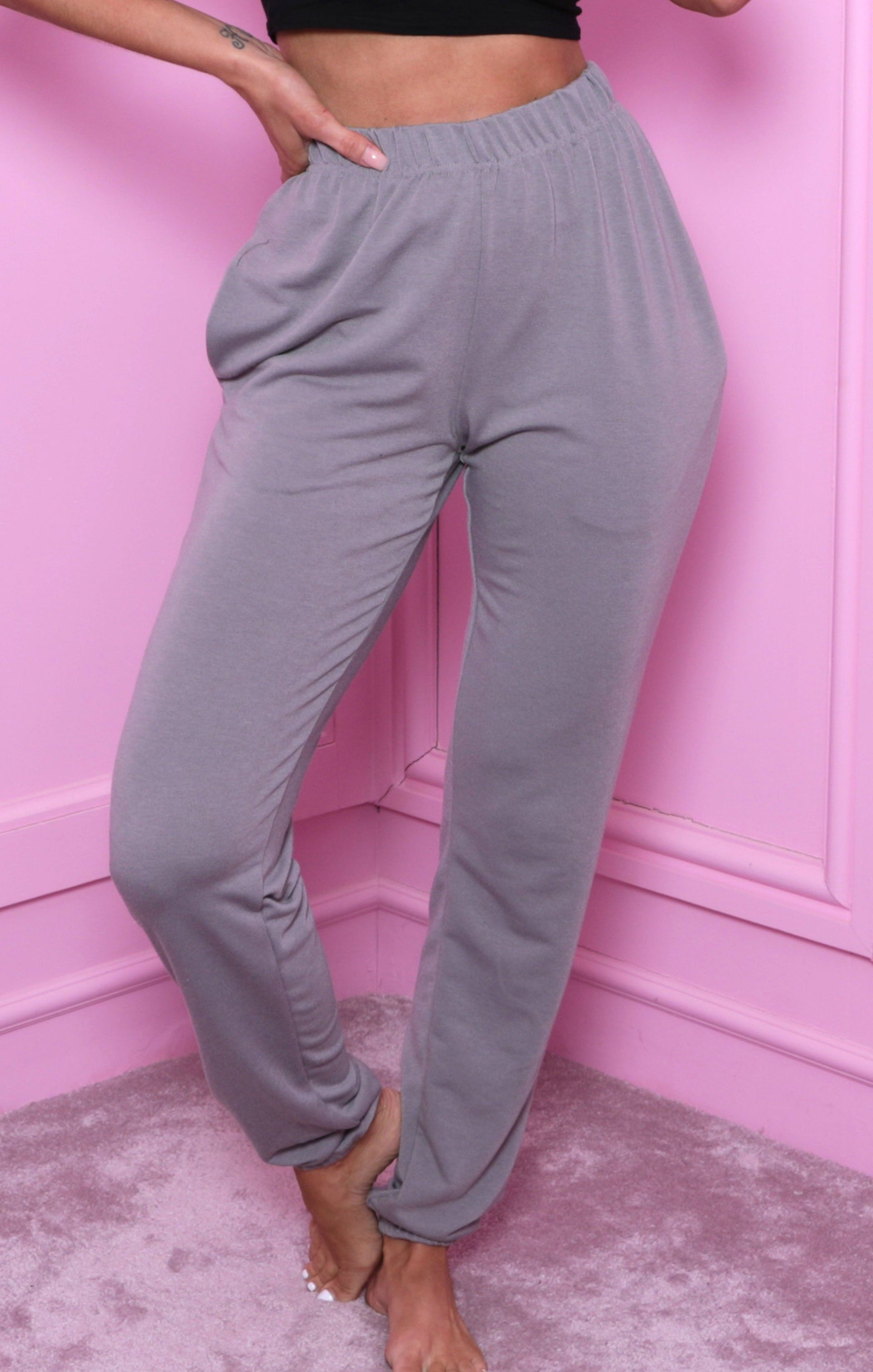 Grey Cuffed Elasticated Joggers - Alora
