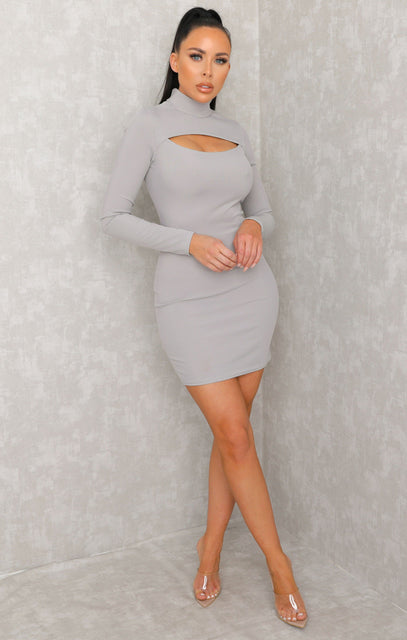 Grey Cut Out High Neck Bodycon Mini Dress - Samantha